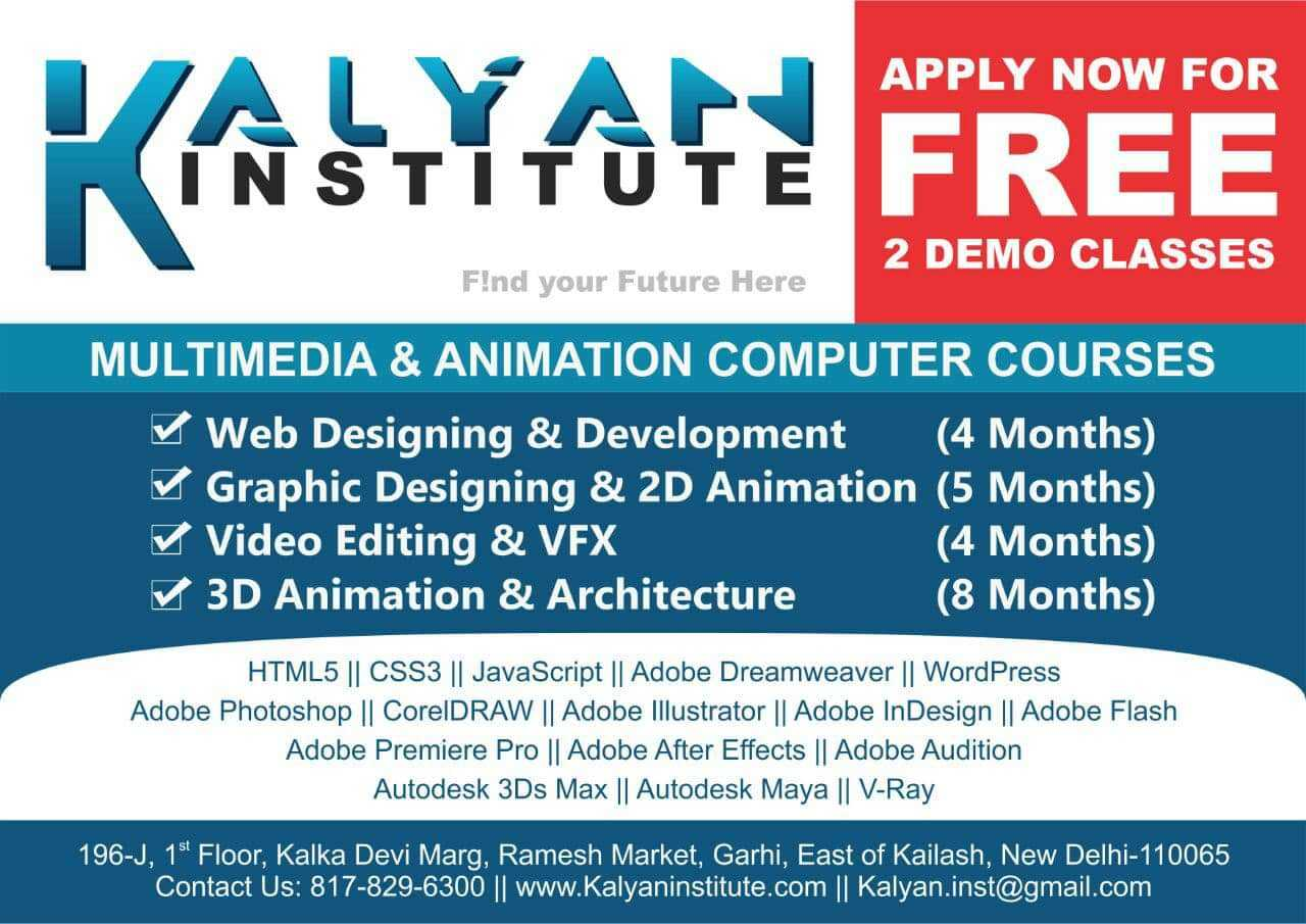 Kalyan Institute in East of Kailash, Delhi-110065   Sulekha Delhi