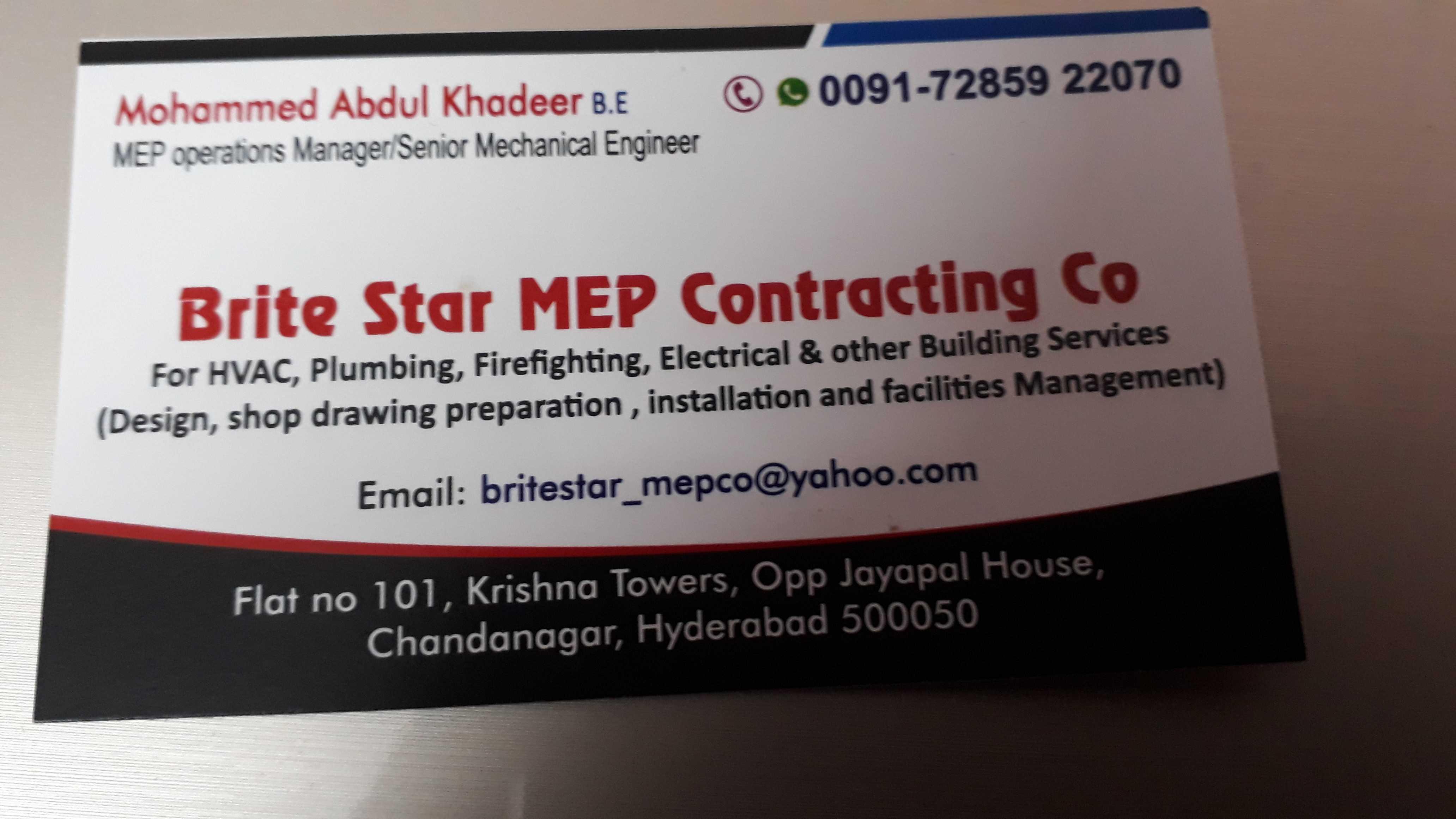 Brite Star MEP Contracting Co in Chanda Nagar, Hyderabad-500050