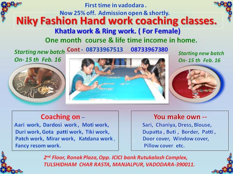 Niky Fashion Handwork Coaching Classes In Manjalpur Vadodara 390011 Sulekha Vadodara
