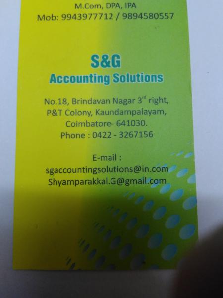S & G Accounting Solutions in Koundampalayam, Coimbatore-641030
