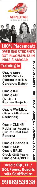 Oracle Application Training in Hyderabad, Classes, Courses