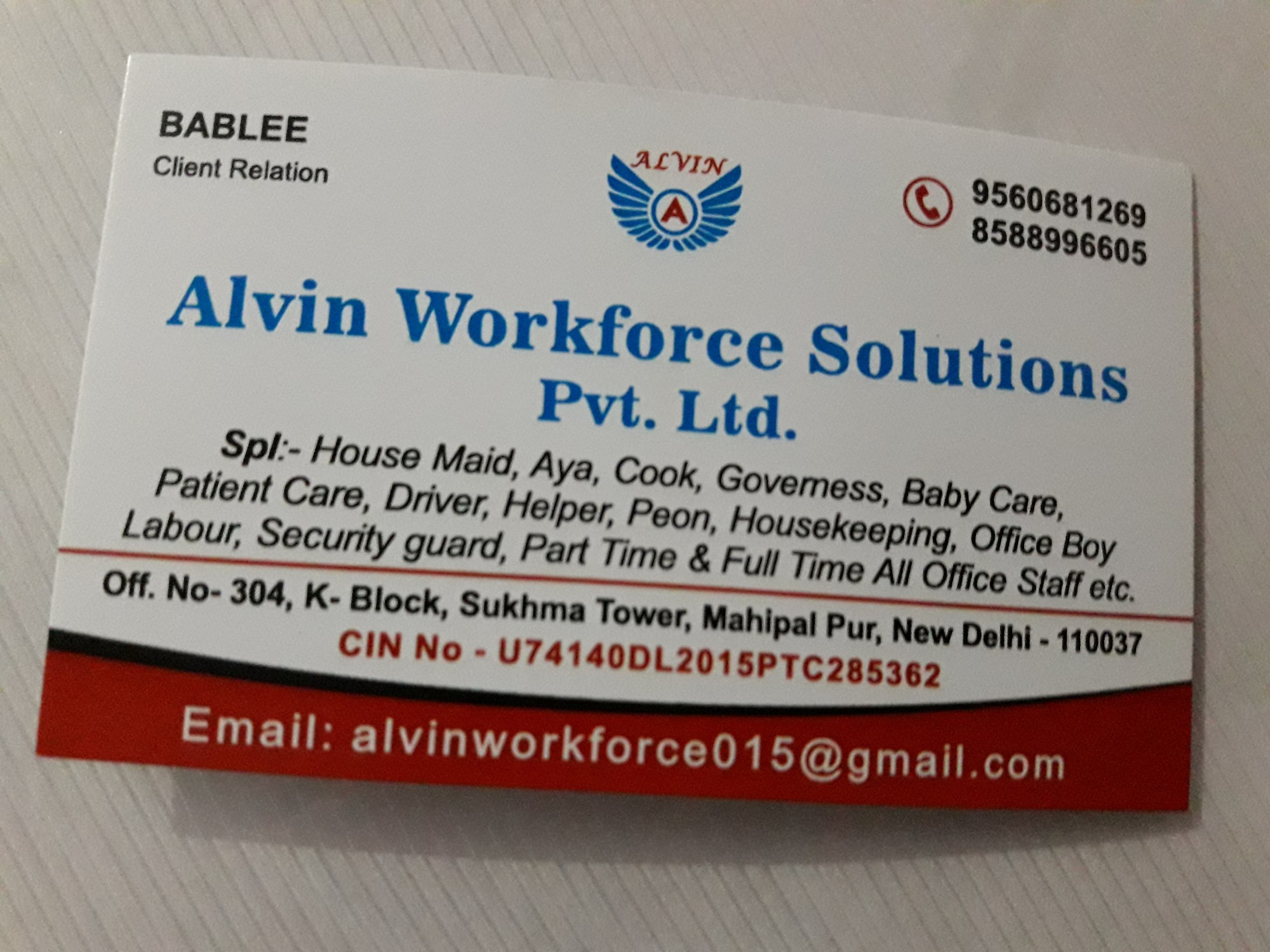 Alvin Workforce Solutions Pvt  Ltd  in Mahipalpur, Delhi