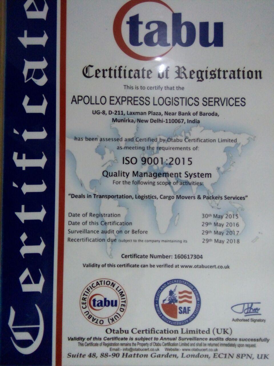 Apollo Express Logistics Services in Munirka, Delhi-110067