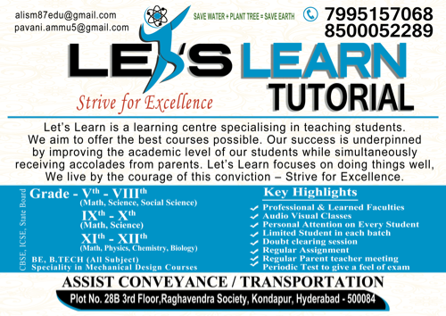 Let's Learn Tutorial in Kondapur, Hyderabad-500084   Sulekha